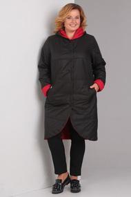 Пальто Диамант 1328 черный с красным