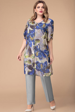 Комплект брючный Svetlana Style 1233 серый с синими цветами