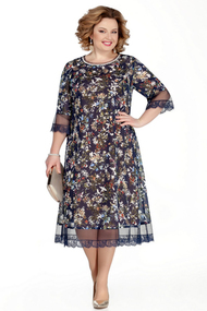 Платье Pretty 1031 синий с бежевым