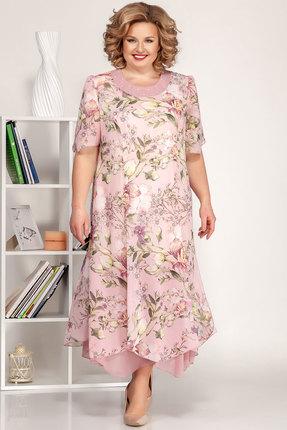 Платье Ivelta plus 1693 беж с розовым