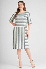 Платье SWALLOW 259 зеленый с молочным