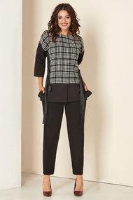 Комплект брючный Andrea Style 00281а чёрно-серый