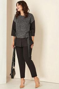 Комплект брючный Andrea Style 00281б чёрно-серые тона