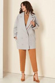 Пальто Andrea Style 00276 серо-голуьой
