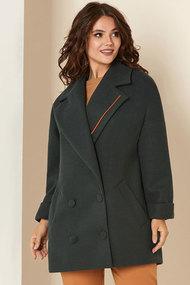 Пальто Andrea Style 00276 серо-зеленый