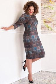 Платье Avanti Erika 886-14 бирюза с коричневым