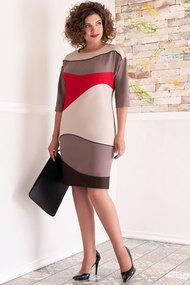 Платье Avanti Erika 258 кофейный с красным и молочным