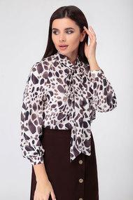 Блузка SWALLOW 330 молочный с коричневым