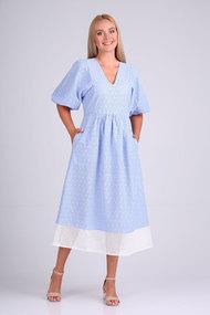 Платье Flovia 4090 голубой с белым