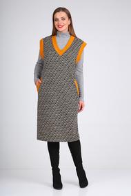 Комплект плательный Viola Style 5492 серый с оранжевым