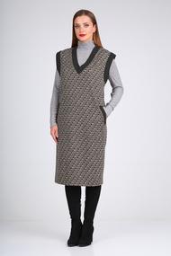 Комплект плательный Viola Style 5492 серый с черным