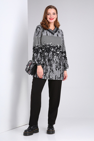 Комплект брючный Viola Style 20578 черный с серым
