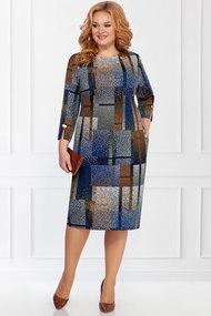 Платье БагираАнТа 642 синий с коричневым